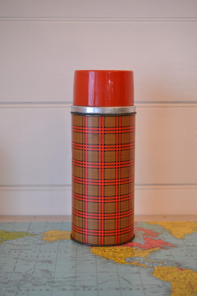 Vintage Aladdin tartan thermos red