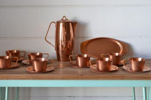 Vintage copper tea set Gunnar Ander mid century Sweden Ystad metall