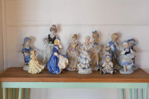 Vintage ceramic Victorian lady man figurine display x 9
