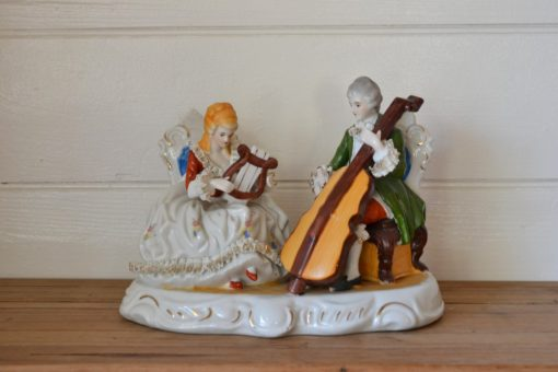 Vintage ceramic Victorian lady man figurine playing instruments