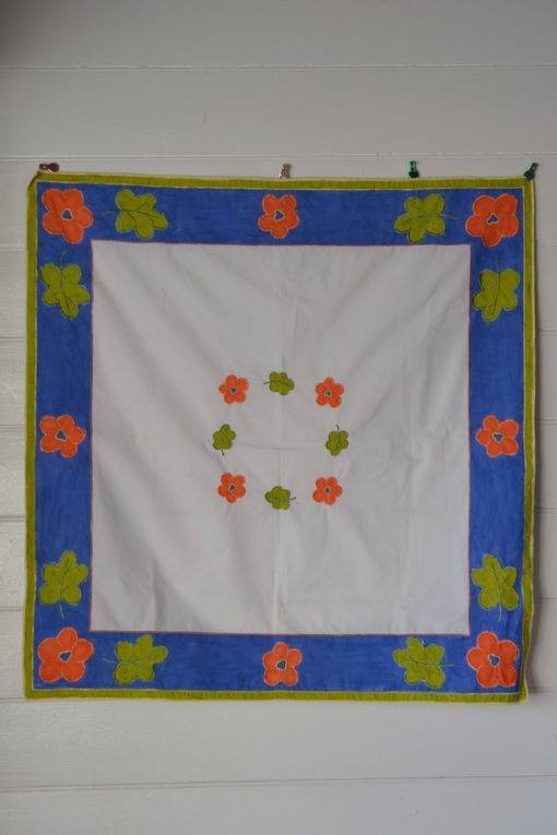 Vintage square tablecloth  German flowers blue apricot green