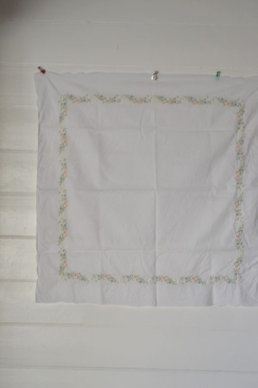 Vintage square tablecloth white   blue pink mauve flowers embroidery