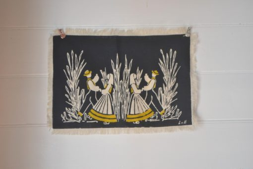 Vintage Norwegian textile Liv Hassel placemat  Harvest dancer hanging folk art