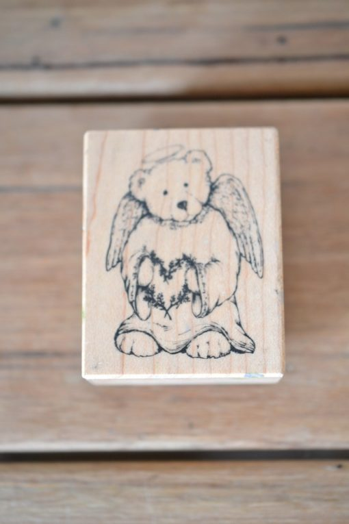 Vintage Wooden rubber ink stamp teddy bear angle USA