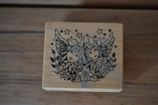 Vintage Wooden rubber ink stamp girl fairy  USA