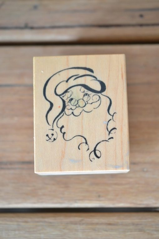 Vintage Wooden rubber ink stamp Father Christmas santa USA