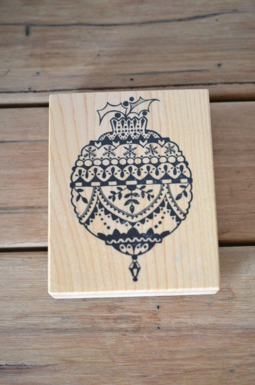 Vintage Wooden rubber ink stamp large  Christmas Ornament USA