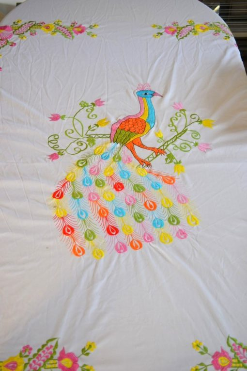 Vintage tablecloth peacock lyrebird flowers embroidery  257 cm L x 196 cm w YLBT15