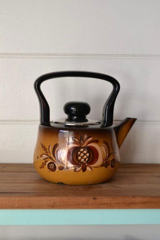 Vintage  brown orange flower enamel teapot  kettle