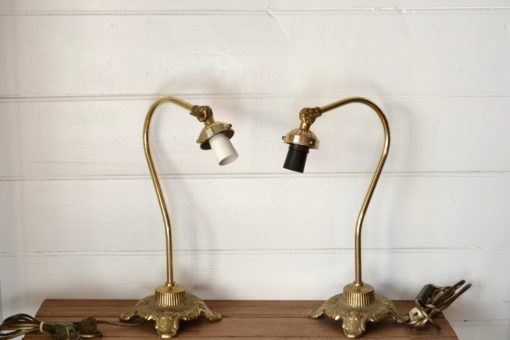 Vintage brass metal lamps lighting articulated head ornate french provincial