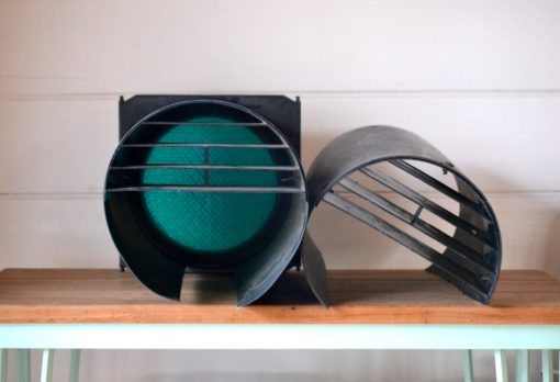 Vintage green traffic light and parts