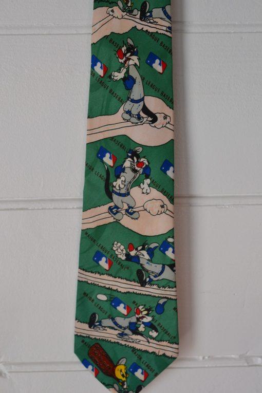 Vintage men's tie looney tunes Sylvester & Tweety 1990s baseball