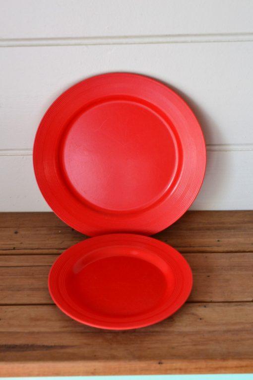 Vintage Duperite  Harlequin red Bakelite  plates picnic ware x 2