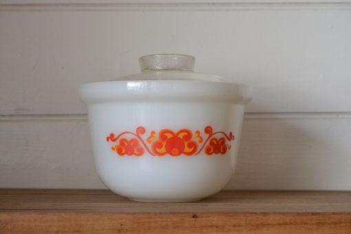 Vintage  pyrex 1 glass funky orange yellow Ovenproof Dish bowl Aurora