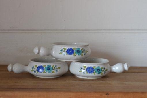 Vintage 3 x Japanese ramekins mid century  stoneware oven proof funky bowls LYLBT2