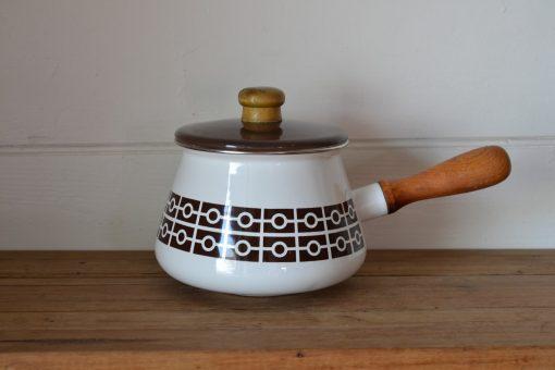 Vintage enamelled Fondue / saucepan brown 60s retro AGT3