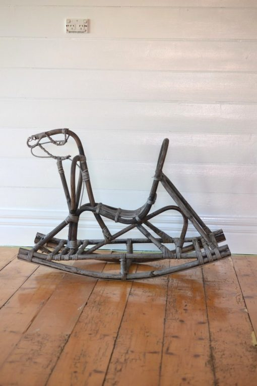 Vintage rattan bamboo rocking horse toy