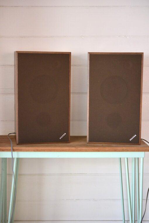 Vintage Silver speakers working wood veneer model SX-301