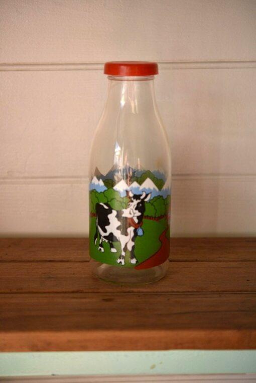Vintage Milk bottle cows Taiwan  glass