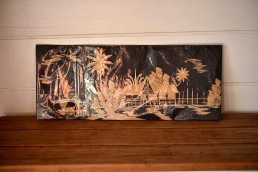 Vintage  Bamboo art work wall hanging tiki  tropicl oriental