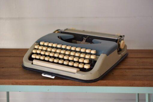 Vintage  Portable Pacific Typewriter  Bulgaria metal two toned