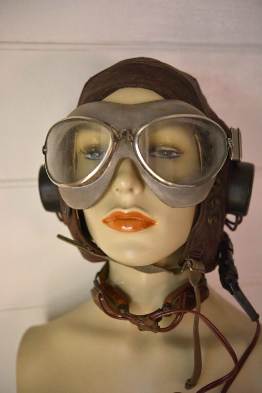 Vintage WWII leather pilots hat, googles, Laryngophone, earpiece