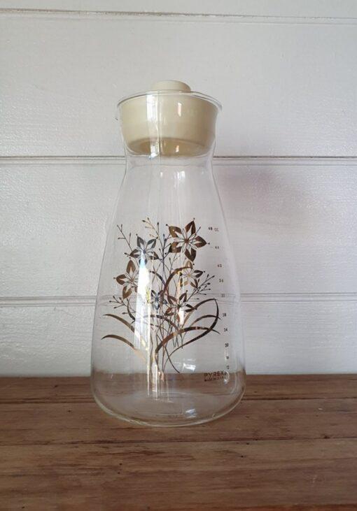 Vintage Pyrex Jug Drinks Pitcher carafe flask gold gilding flowers